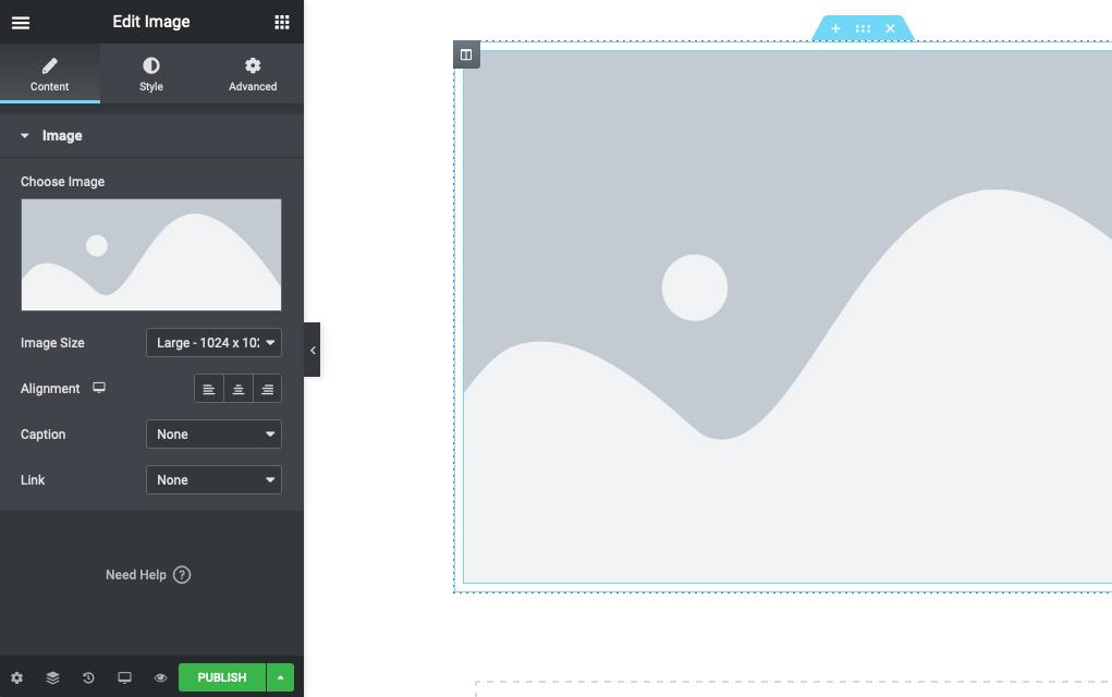 Screenshot of Elementor interface
