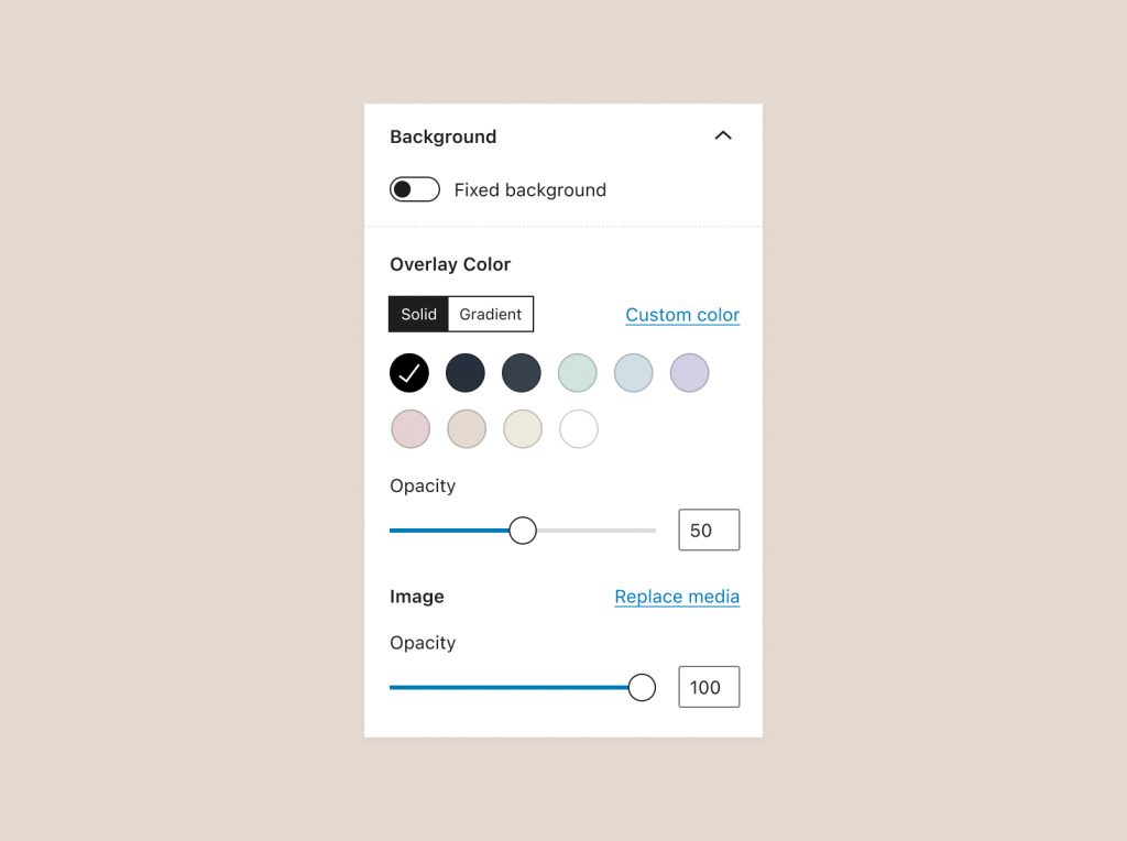 Background panel with sections for Overlay Color settings and Image (or other media) settings