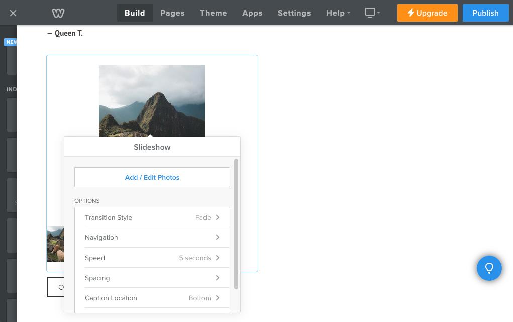 Screenshot of Wix interface