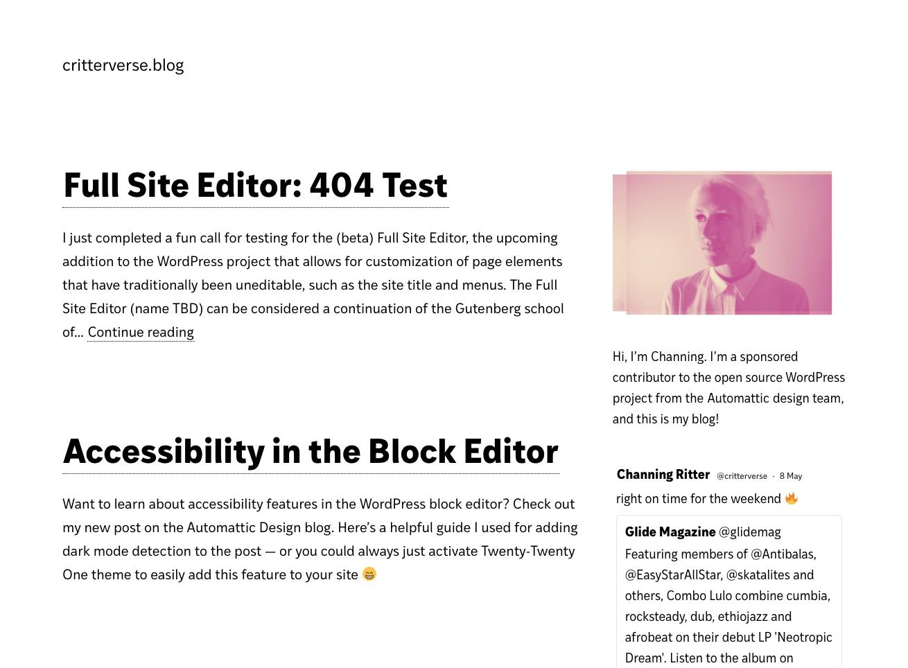 Screenshot of critterverse.blog homepage with sidebar widget area