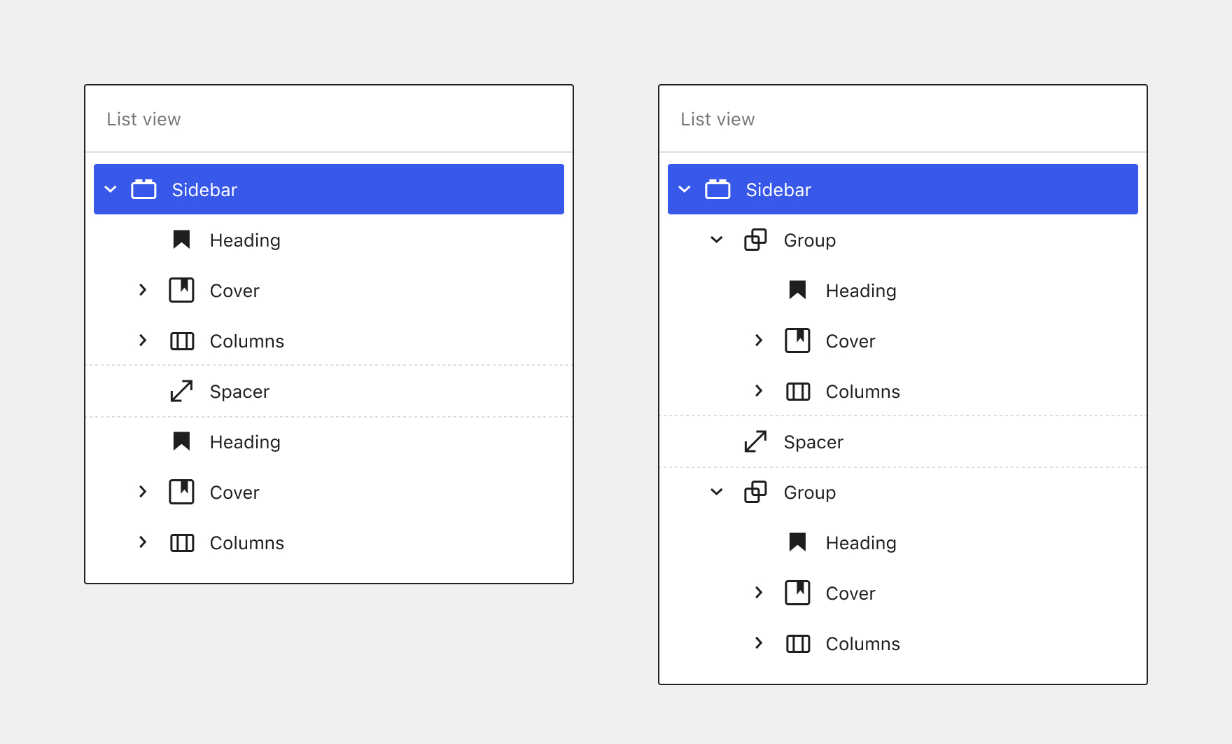 Side by side comparison of List view of a Sidebar widget area with and without grouped/nested lockups.
