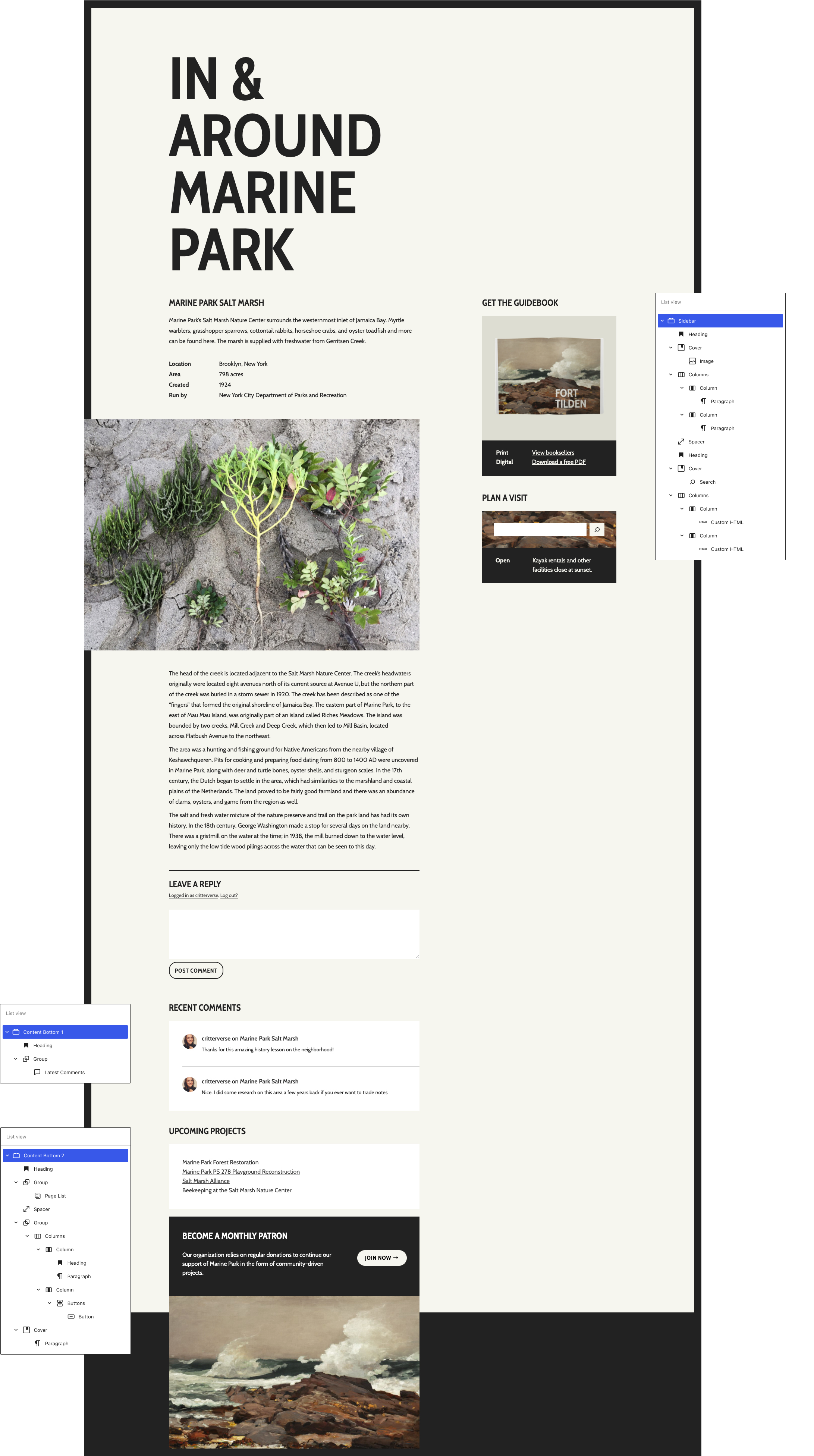 """Zoomed out view of a single post with one sidebar widget area and two footer widget areas. The site content is about Marine Park Salt Marsh. There are is a """"List view"""" of blocks floating next to each widget area showing how the design is constructed."""